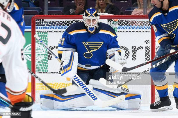 Chad Johnson of the St Louis Blues makes a save against the Anaheim Ducks at Enterprise Center on October 14 2018 in St Louis Missouri