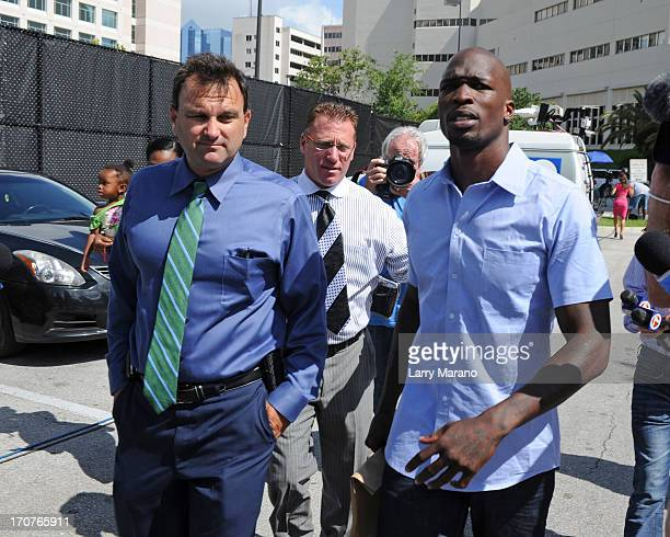 Chad Johnson walks out of the Broward County Jail with his sports agent Drew Rosenhaus and Lawyer Adam Swickle on June 17, 2013 in Fort Lauderdale,...