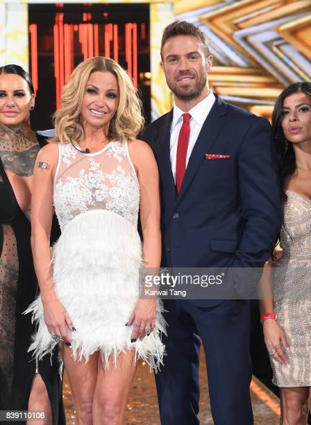 Chad Johnson with Sarah Harding who is crowned the winner of the Celebrity Big Brother Final at Elstree Studios on August 25 2017 in Borehamwood...