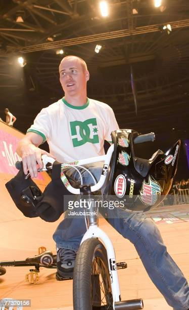 Chad Kagy of the US poses after winning the 2nd place in the BMX halfpipe competition at the TMobile Xtreme Playgound event at the Volodrom on...