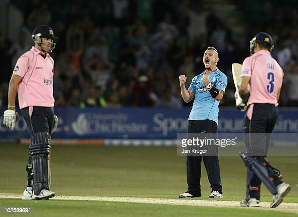 Chad Keegan of Sussex celebrate the wicket of Owais Shah of Middlesex during the Friends Provident T20 match between Sussex and Middlesex at the...