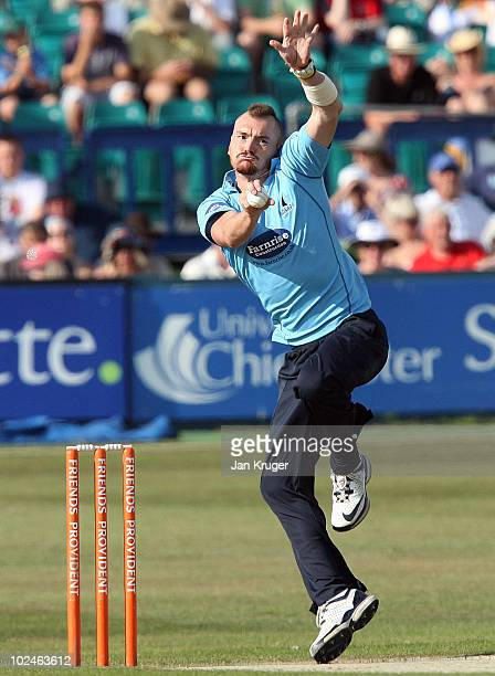 Chad Keegan of Sussex in action during the Friends Provident T20 match between Sussex and Kent at the County Ground on June 27 2010 in Hove England