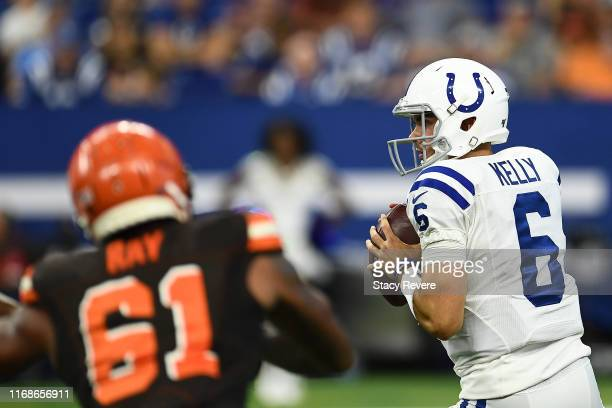 Chad Kelly of the Indianapolis Colts drops back to pass during the second half of a preseason game against the Cleveland Browns at Lucas Oil Stadium...