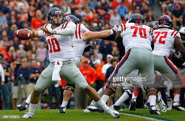 Chad Kelly of the Mississippi Rebels looks to pass against the Auburn Tigers at JordanHare Stadium on October 31 2015 in Auburn Alabama