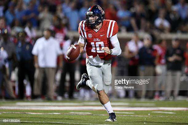 Chad Kelly of the Mississippi Rebels looks to pass during the first quarter of a game against the Texas AM Aggies at VaughtHemingway Stadium on...