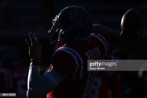 Chad Kelly of the Mississippi Rebels participates in warmups prior to a game against the Vanderbilt Commodores at VaughtHemingway Stadium on...