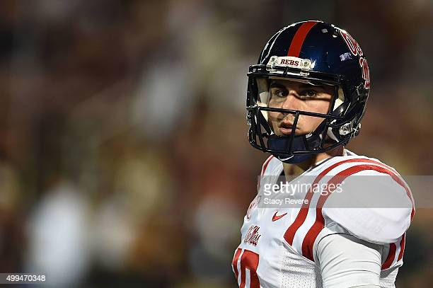 Chad Kelly of the Mississippi Rebels participates in warmups prior to a game against the Mississippi State Bulldogs at Davis Wade Stadium on November...