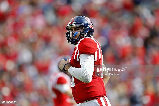 Chad Kelly of the Mississippi Rebels reacts during a game against the Georgia Southern Eagles at VaughtHemingway Stadium on November 5 2016 in Oxford...
