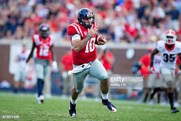 Chad Kelly of the Mississippi Rebels runs the ball during a game against the Georgia Bulldogs at VaughtHemingway Stadium on September 24 2016 in...