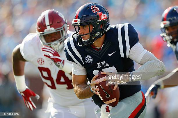 Chad Kelly of the Mississippi Rebels rushes against the Alabama Crimson Tide at VaughtHemingway Stadium on September 17 2016 in Oxford Mississippi