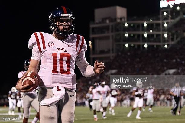 Chad Kelly of the Mississippi Rebels rushes for a touchdown during a game against the Mississippi State Bulldogs at Davis Wade Stadium on November 28...