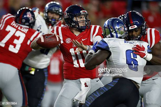 Chad Kelly of the Mississippi Rebels thorws the ball during a game against the Memphis Tigers at VaughtHemingway Stadium on October 1 2016 in Oxford...