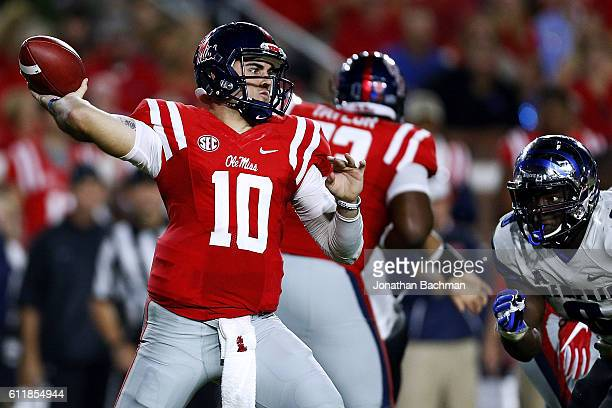 Chad Kelly of the Mississippi Rebels throws the ball during the first half of a game against the Memphis Tigers at VaughtHemingway Stadium on October...