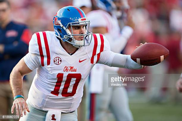 Chad Kelly of the Mississippi Rebels warming up before a game against the Arkansas Razorbacks at Razorback Stadium on October 15 2016 in Fayetteville...
