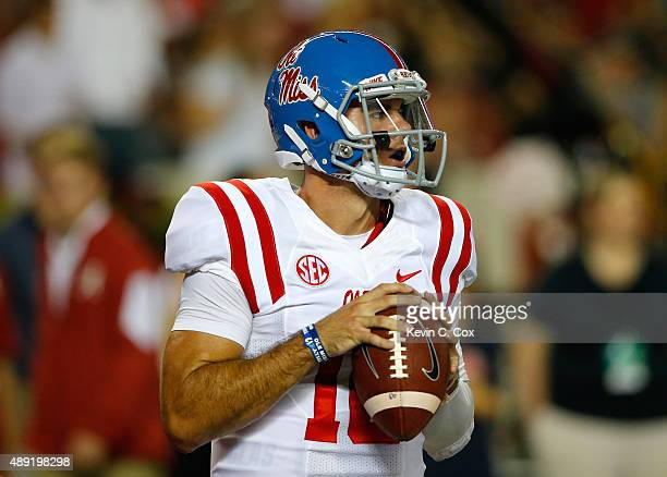 Chad Kelly of the Mississippi Rebels warms up prior to facing the Alabama Crimson Tide at BryantDenny Stadium on September 19 2015 in Tuscaloosa...