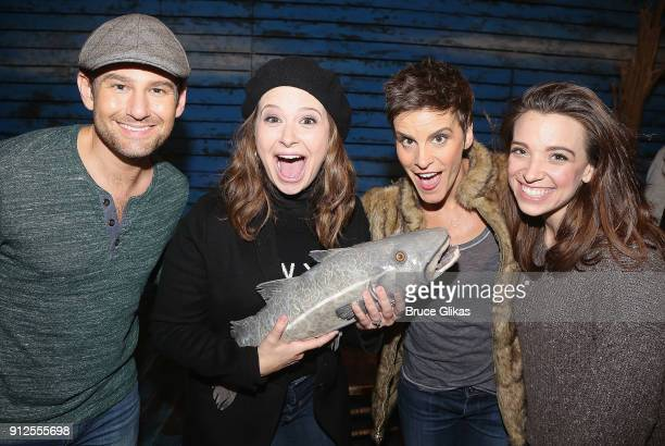 Chad Kimball Katie Lowes Jenn Colella and Alex Finke pose backstage at the hit musical Come From Away on Broadway at The Schoenfeld Theatre on...