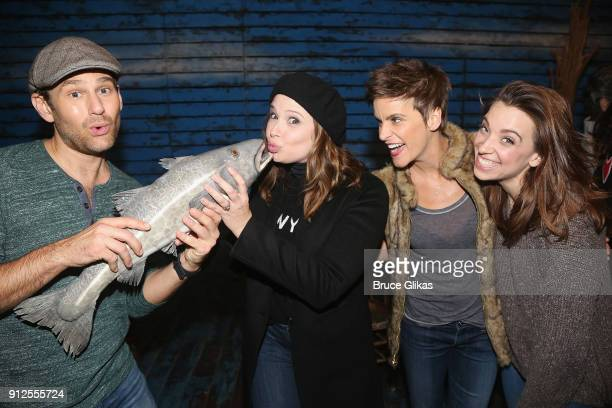 Chad Kimball Katie Lowes Jenn Colella and Alex Finke pose backstage at the hit musical 'Come From Away' on Broadway at The Schoenfeld Theatre on...