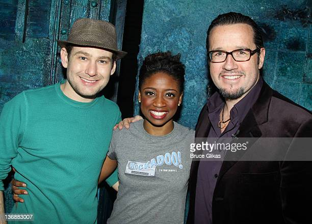 Chad Kimball Montego Gloverand CEO Audemars Piquet North America FrancoisHenry Bennahmias pose at a special performance of Memphis for Inspire Change...