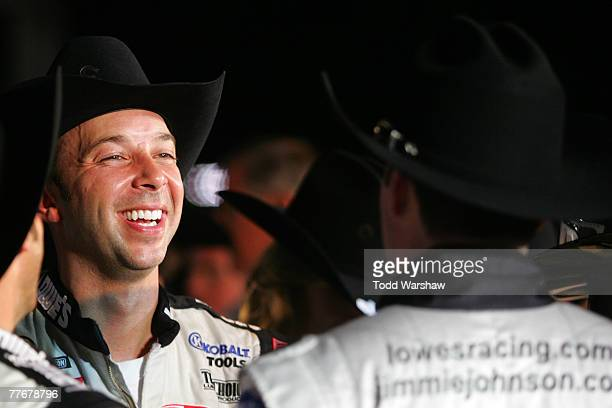Chad Knaus crew chief for Jimmie Johnson driver of the Lowe's/Kobalt Chevrolet celebrates in victory lane after winning the NASCAR Nextel Cup Series...