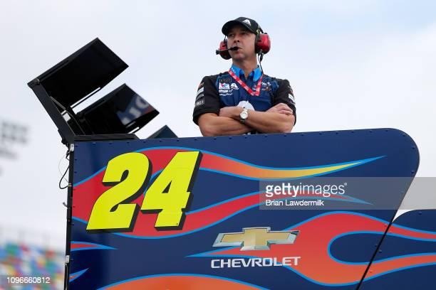 Chad Knaus crew chief for William Byron driver of the Axalta Chevrolet during practice for the Monster Energy NASCAR Cup Series Advance Auto Parts...