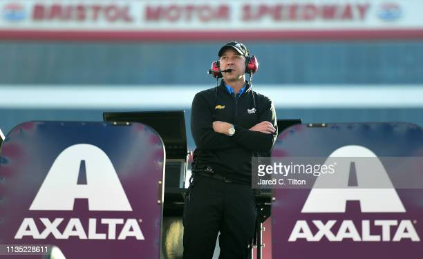 Chad Knaus crew chief of the Axalta Chevrolet looks on during practice for the Monster Energy NASCAR Cup Series Food City 500 at Bristol Motor...
