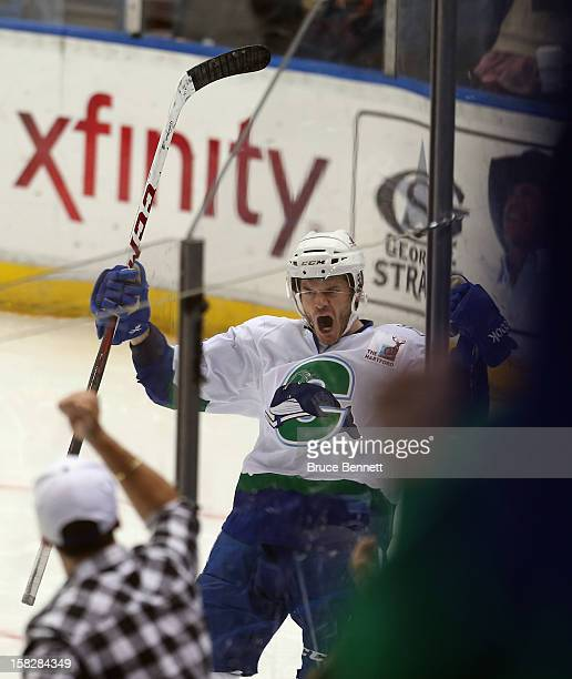 Chad Kolarik of the Connecticut Whale scores the game winning goal at 123 of the third period against the Worcester Sharks at the XL Center on...