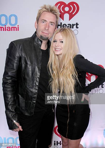 Chad Kroeger and Avril Lavigne attend Y100's Jingle Ball 2013 Presented by Jam Audio Collection at BB&T Center on December 20, 2013 in Miami, Florida.