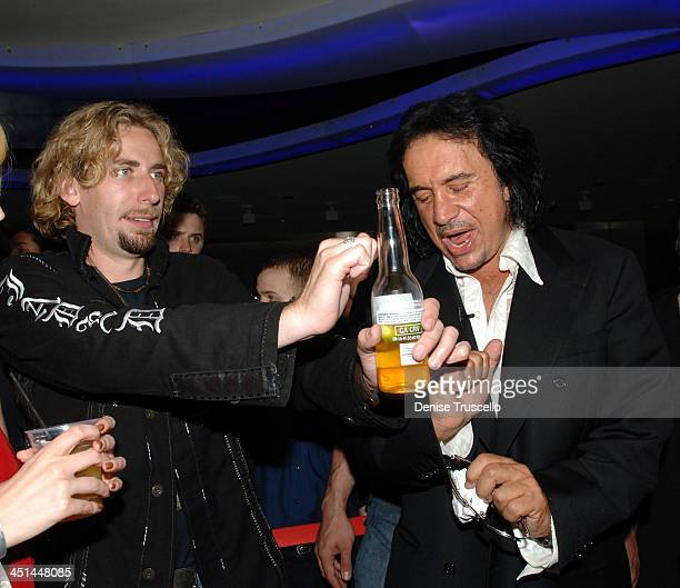 Chad Kroeger and Gene Simmons during Gene Simmons' Birthday Party August 25 2005 at The Palms Hotel and Casino Resort in Las Vegas Nevada