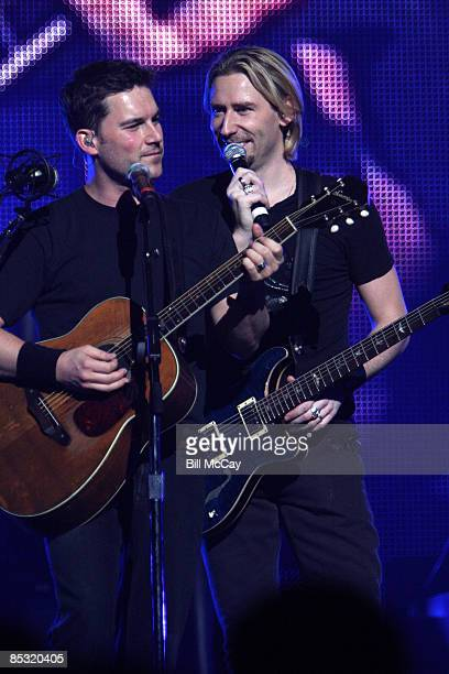 Chad Kroeger, lead singer for Nickelback and Lead Guitar player Ryan Peake perform live at The Wachovia Center March 9, 2009 in Philadelphia,...