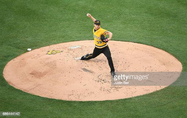 Chad Kuhl of the Pittsburgh Pirates delivers a pitch during the game against the Philadelphia Phillies at PNC Park on May 21 2017 in Pittsburgh...