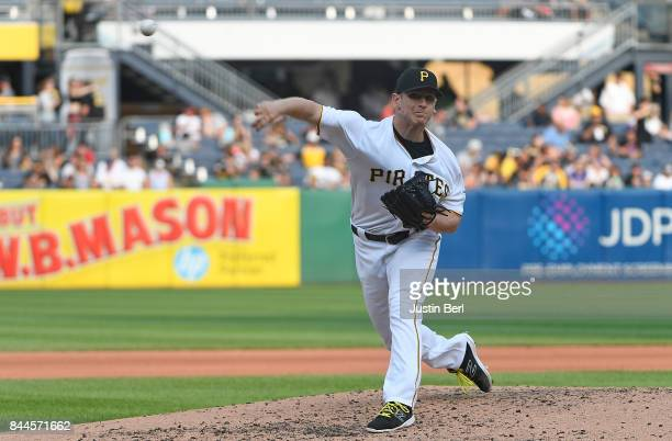 Chad Kuhl of the Pittsburgh Pirates delivers a pitch during the game against the Chicago Cubs at PNC Park on September 4 2017 in Pittsburgh...