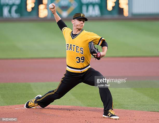 Chad Kuhl of the Pittsburgh Pirates delivers a pitch in the first inning of his MLB debut against the Los Angeles Dodgers at PNC Park on June 26 2016...