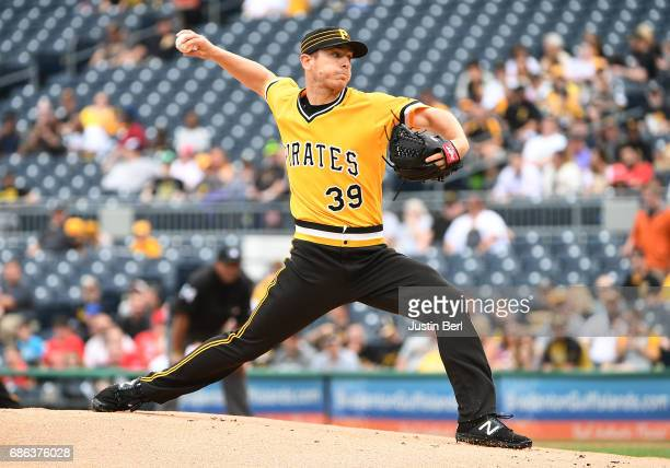 Chad Kuhl of the Pittsburgh Pirates delivers a pitch in the first inning during the game against the Philadelphia Phillies at PNC Park on May 21 2017...