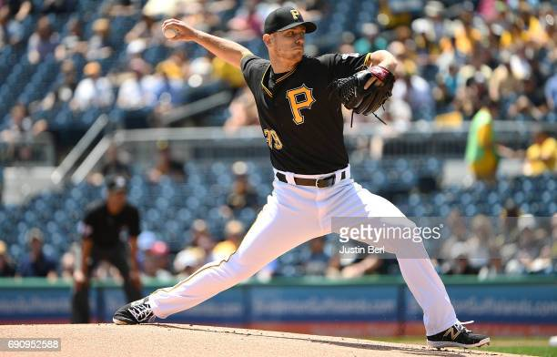 Chad Kuhl of the Pittsburgh Pirates delivers a pitch in the first inning during the game against the Arizona Diamondbacks at PNC Park on May 31 2017...