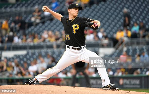 Chad Kuhl of the Pittsburgh Pirates delivers a pitch in the first inning during the game against the Colorado Rockies at PNC Park on June 14 2017 in...
