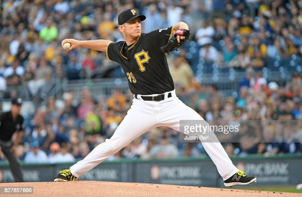 Chad Kuhl of the Pittsburgh Pirates delivers a pitch in the first inning during the game against the Detroit Tigers at PNC Park on August 8 2017 in...