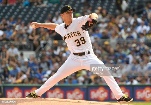 Chad Kuhl of the Pittsburgh Pirates delivers a pitch in the first inning during the game against the Chicago Cubs at PNC Park on September 4 2017 in...