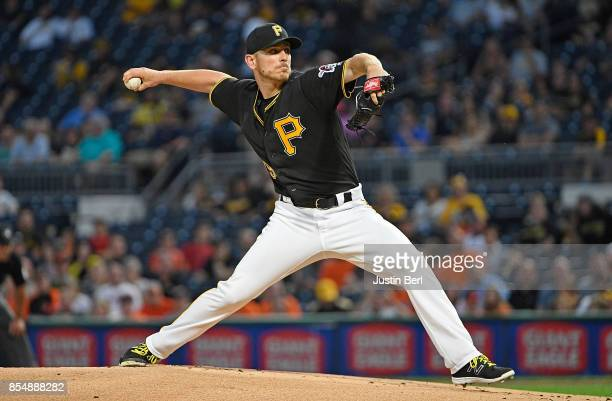 Chad Kuhl of the Pittsburgh Pirates delivers a pitch in the first inning during the game against the Baltimore Orioles at PNC Park on September 27...