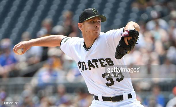 Chad Kuhl of the Pittsburgh Pirates delivers a pitch in the first inning during the game against the Chicago Cubs at PNC Park on May 28 2018 in...
