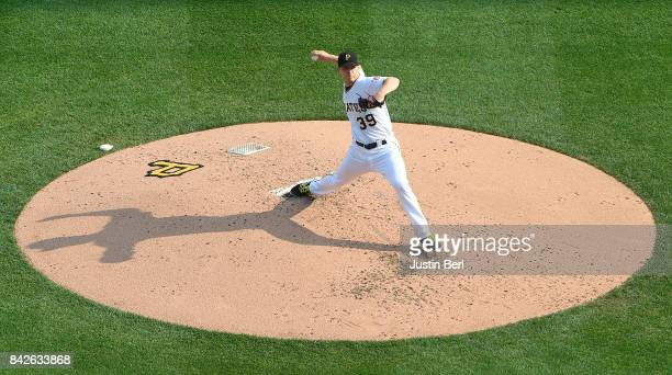 Chad Kuhl of the Pittsburgh Pirates delivers a pitch in the third inning during the game against the Chicago Cubs at PNC Park on September 4 2017 in...