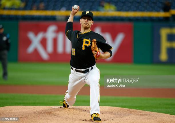 Chad Kuhl of the Pittsburgh Pirates in action against the Chicago Cubs at PNC Park on April 24 2017 in Pittsburgh Pennsylvania