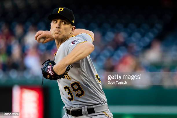 Chad Kuhl of the Pittsburgh Pirates pitches against the Washington Nationals during the first inning at Nationals Park on May 1 2018 in Washington DC