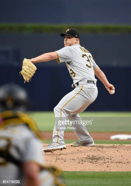 Chad Kuhl of the Pittsburgh Pirates pitches during the first inning of a baseball game against the San Diego Padres at PETCO Park on July 28 2017 in...