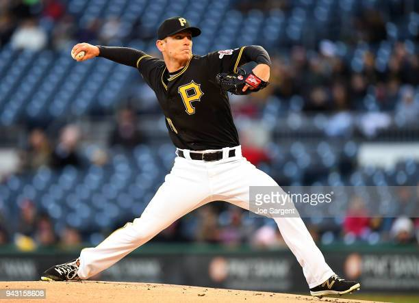 Chad Kuhl of the Pittsburgh Pirates pitches during the first inning against the Cincinnati Reds at PNC Park on April 7 2018 in Pittsburgh Pennsylvania