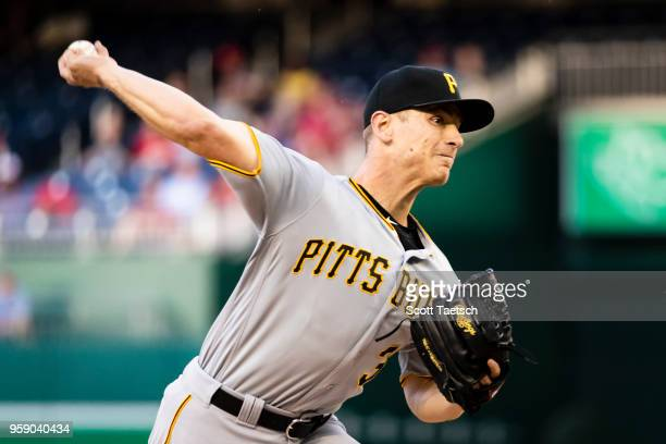 Chad Kuhl of the Pittsburgh Pirates pitches during the first inning against the Washington Nationals at Nationals Park on May 1 2018 in Washington DC