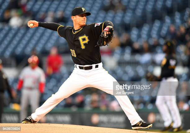 Chad Kuhl of the Pittsburgh Pirates pitches during the game against the Cincinnati Reds at PNC Park on April 7 2018 in Pittsburgh Pennsylvania