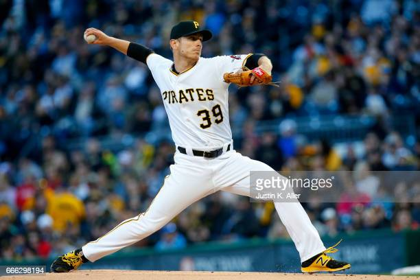 Chad Kuhl of the Pittsburgh Pirates pitches in the first inning against the Atlanta Braves at PNC Park on April 8 2017 in Pittsburgh Pennsylvania