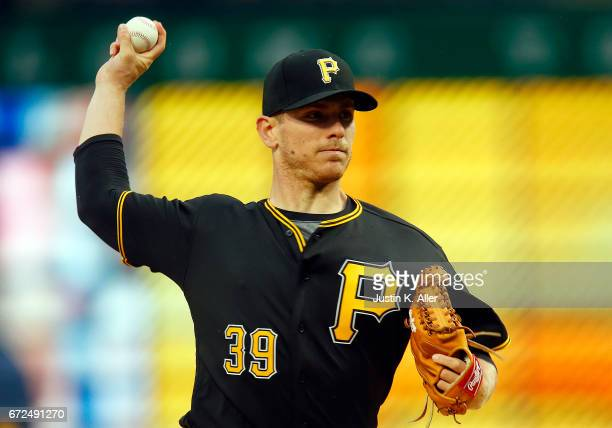 Chad Kuhl of the Pittsburgh Pirates pitches in the first inning against the Chicago Cubs at PNC Park on April 24 2017 in Pittsburgh Pennsylvania