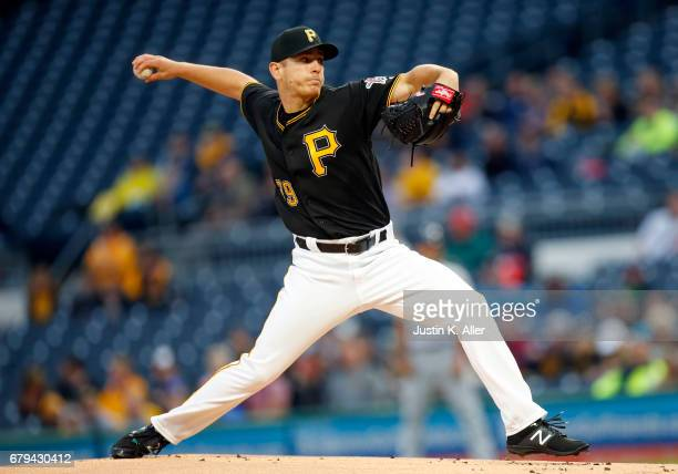 Chad Kuhl of the Pittsburgh Pirates pitches in the first inning against the Milwaukee Brewers at PNC Park on May 5 2017 in Pittsburgh Pennsylvania