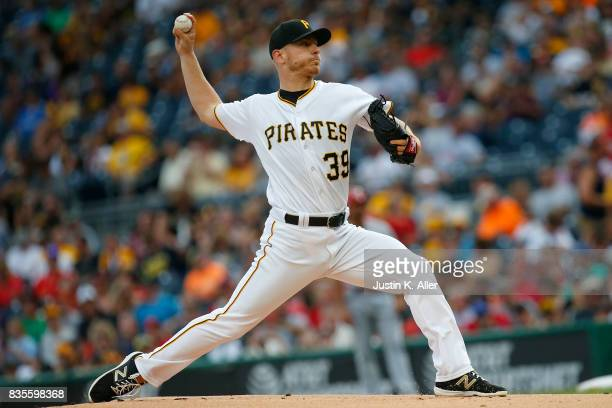 Chad Kuhl of the Pittsburgh Pirates pitches in the first inning against the St Louis Cardinals at PNC Park on August 19 2017 in Pittsburgh...